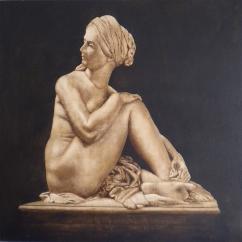 "Oil painting of 'Seated Odalisque'. From a marble statue by James Pradier. Oil on canvas, 2012 (24""x24"")"