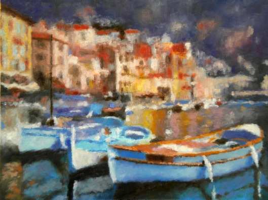 Blue boats, oil on canvas, February 2013, 16